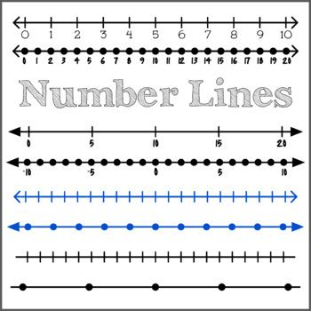 integer number lines clipart  unique number lines