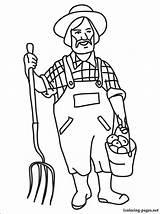 Farmer Coloring Farm Drawing Printable Market Dell Farmers Line Animals Equipment Sketch Template Profession Professions Children sketch template