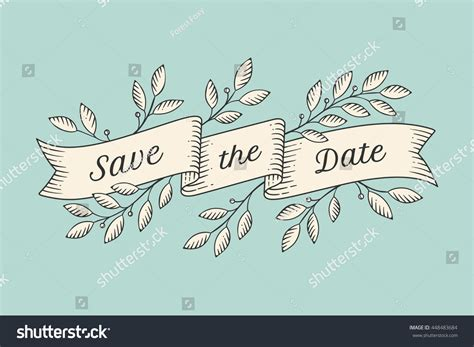 greeting card inscription save date  stock illustration