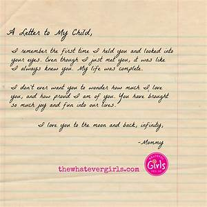 A letter to my child the whatever girls for Letter to my child