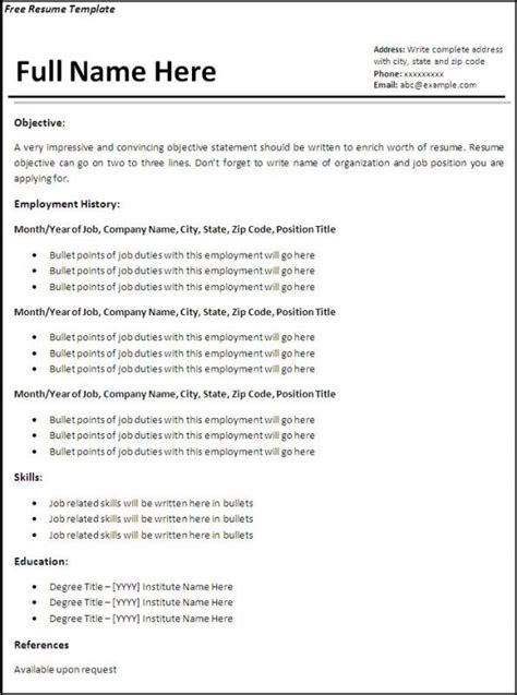 free basic resume templates template business