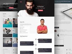 Cv resume psd website template freebiesbug for Personal resume website templates free download