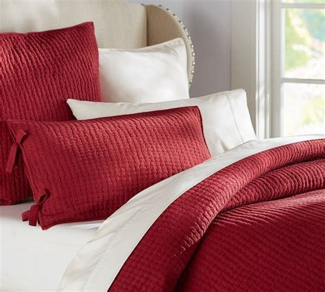 pick stitch wholecloth quilt  red  pottery barn red