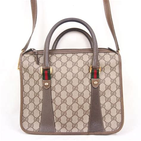 vintage gucci monogram tote shoulder bag handbag authentic wlong shoulder strap ebay