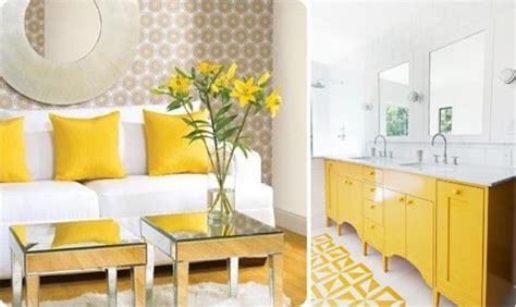 bright yellow  white decorating ideas sunny color