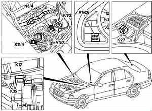 Mercede-benz C-class W202  1993 - 2001  - Fuse Box Diagram