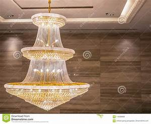 Crystal, Chandelier, Shines, Hanging, From, The, Ceiling, In, The, Room, Stock, Photo