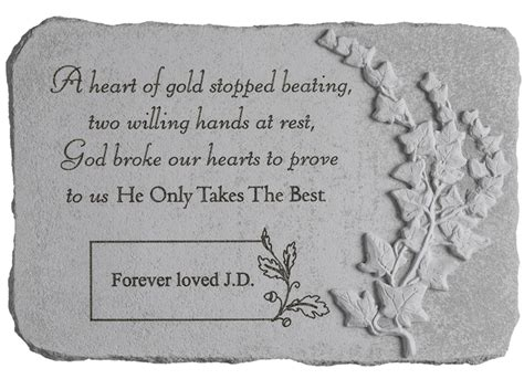 personalized garden memorial  heart  gold stopped beating