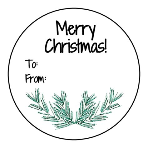merry christmas pine needle circle gift tag labels