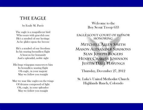 eagle scout court of honor program template 17 best images about bs eagle coh invites programs on program template free