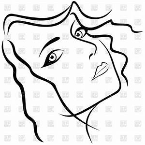 Face of beautiful young woman - outline Royalty Free ...