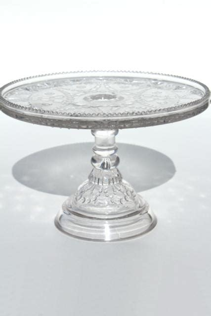 antique vintage pressed pattern glass cake stand eapg