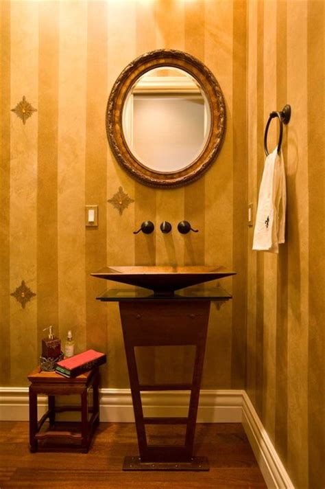 powder room  gold paint  jewels  metal pedestal
