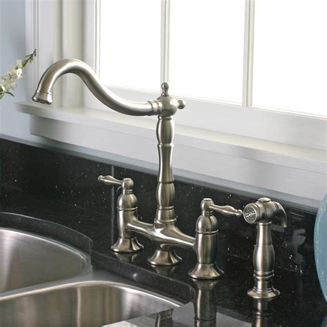 bridge style kitchen faucets charelstown 2 handle brushed nickel lead free bridge style kitchen faucet contemporary