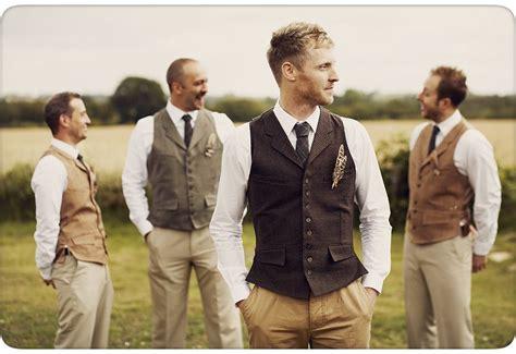 Groom And Ushers In Tweed Waistcoats