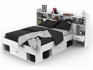 Lit 140 Avec Tiroirs Rangement : pack chambre kylian lit armoire dressing blanc ~ Teatrodelosmanantiales.com Idées de Décoration