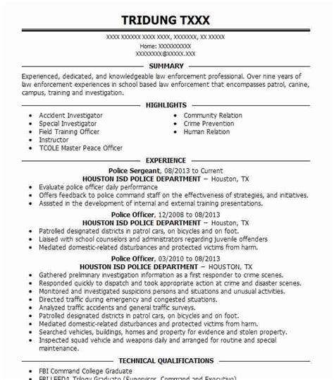Resume Exles For Enforcement by Officer Resume Template Bestshirt Info