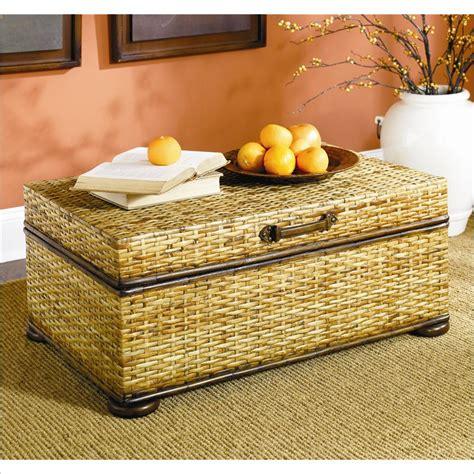 wicker trunk coffee table hidden treasures woven rattan trunk coffee table in light