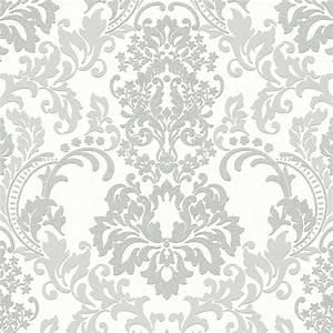 tapete barock glitzer damast ornamente silber neue bude 2 With balkon teppich mit schwarze barock tapete