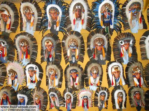 native american indian chief mask wall hangings bali indonesia