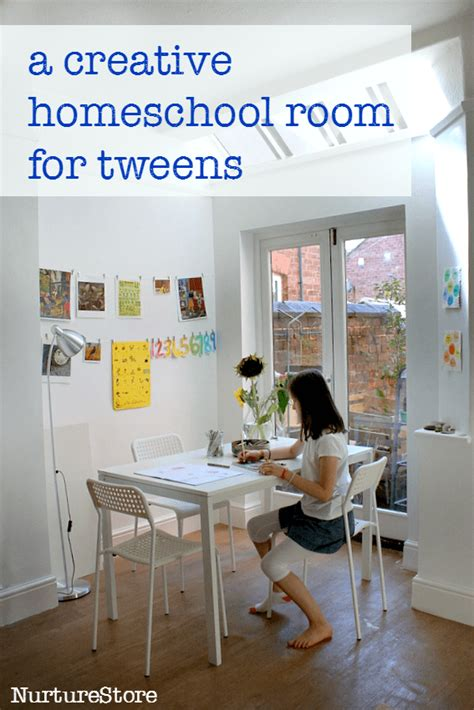 creative  simple homeschool room  tweens