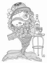 Coloring Adults Fish Pages Pisces Funny Water Humour Adult Worlds Colouring Books Humor Very Printable Fishing Sheets Children Animals Crazy sketch template