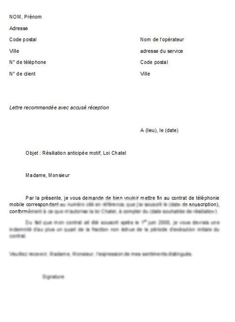 modele lettre resiliation sfr loi chatel mod 232 le de lettre r 233 siliation anticip 233 e d un contrat de