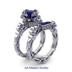 white sapphire wedding ring sets masters caravaggio 14k white gold 1 5 ct princess blue sapphire engagement ring