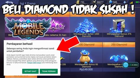 Cara Beli Diamond / Top Up Diamond Mobile Legends Dengan