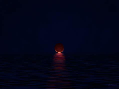 red blood moon minimalism pixel art vladstudio hd