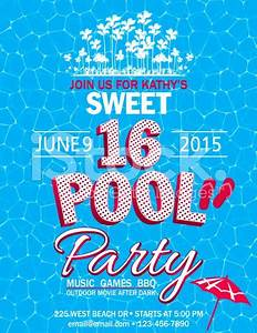 Sweet 16 Pool Party Invitation With Water Palm Trees ...
