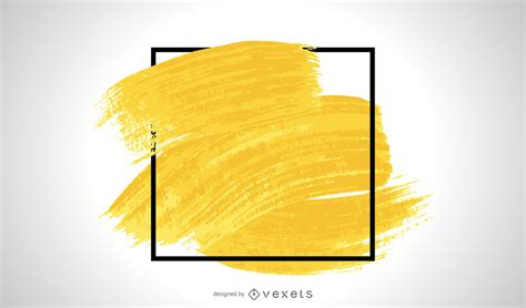 Yellow Brush Stroke Frame - Vector Download