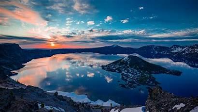 Crater Oregon Lake Wallpapers Mountains 4k Sunset