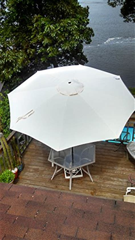10 foot light beige solar lighted led market umbrella