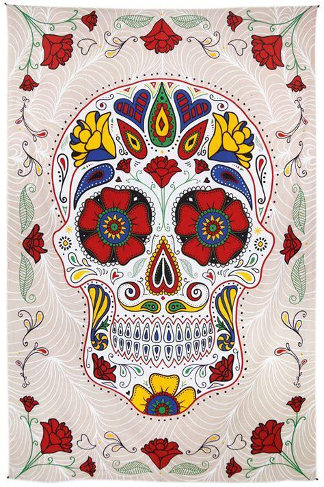 3D Sugar Skull Tapestry 60x90 White