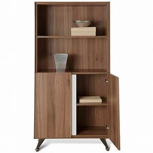 Contemporary Bookcase with Doors - Walnut | DCG Stores