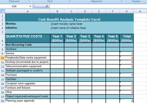 cost benefit analysis template excel resume