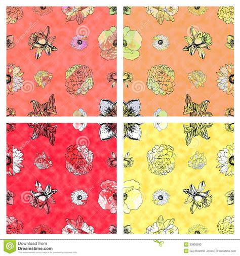 Seamless Floral Pattern & Warm Colored Background Stock