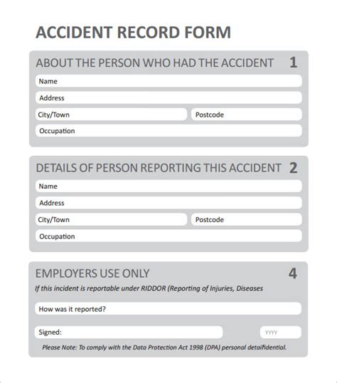 employee injury report form template clergy