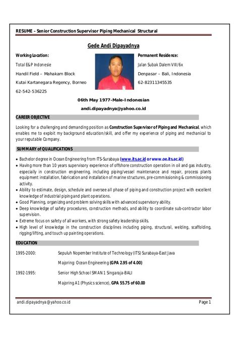 Piping Construction Supervisor Resume by Resume Gede Construction Piping Supervisor