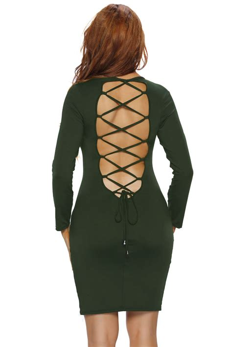 Longsleeve Dress A17960 Armygreen wholesale army green lace up back sleeve bodycon mini