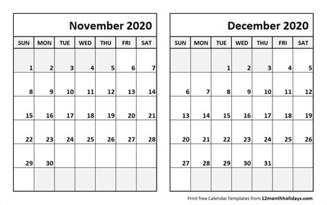 print november december  calendar template  month