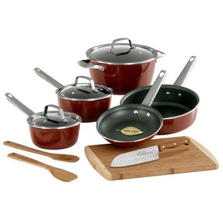 tramontina  piece eco friendly cookware set  bonus copper walmartcom