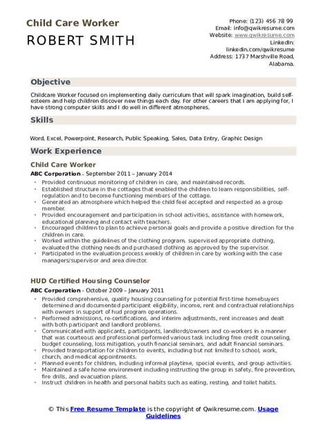 Resume For Child Care Worker by Child Care Worker Resume Sles Qwikresume