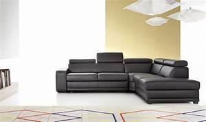Canapé Convertible Contemporain : canap d 39 angle en cuir convertible 5 6 places moderne ~ Teatrodelosmanantiales.com Idées de Décoration