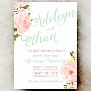 floral watercolor wedding invitation mint pink coral With blank coral wedding invitations