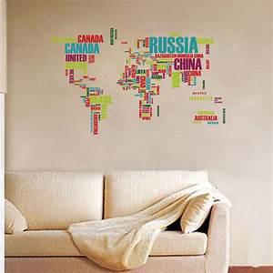 Carte Du Monde Sticker : sticker carte du monde r alis e avec les noms de pays stickers villes et voyages ambiance ~ Dode.kayakingforconservation.com Idées de Décoration