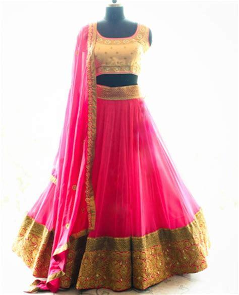Buy Decorative Flowers Online by Buy Pink Embroidery Net Ghagra Choli Online