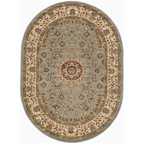 Blue Oval Rug by Tayse Rugs Elegance Blue 5 Ft X 7 Ft Oval Indoor Area