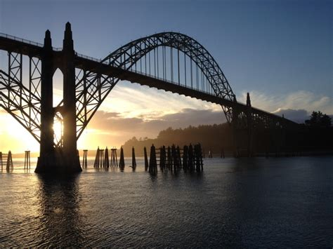 Free Newport Oregon Bridge Sunset Stock Photo